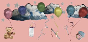 illustration med ballonger kniv och sax