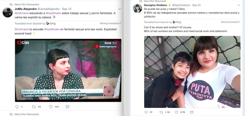 Georgina Orellano och Maria Riot har många följare på sociala medier och syns ofta i medierna.