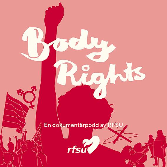 Reklambild för Body rightspodden i rött med en person på en demonstration