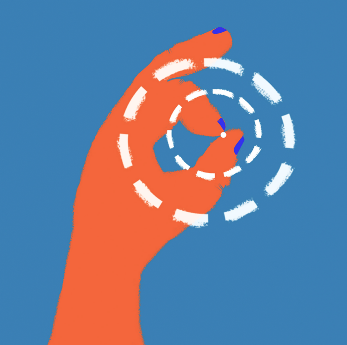 illustration av en hand som håller i ett piller