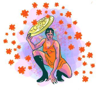 Illustration av hur östrogen skyddar mot covid.